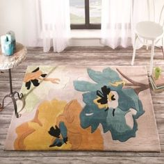 This floral printed hand tufted Infinite Seasons Bloom Teal Ochre Floral Rug will add stylish elegance to your home floors. This polyester floral rug boasts a plush dense pile. Teal Rug, Gold Rug, Teal Area Rug, Blue Rugs, Polyester Rugs, Bloom, Home Additions, Turquoise, Grey Carpet