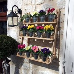Wooden Plant Stand Vintage 3 Tier Garden Planter Flower Pots Outdoor Patio Home for sale Wooden Garden Planters, Tiered Garden, Flower Planters, Hanging Planters, Flower Pots, Garden Decor Items, Garden Gifts, Plant Theatre, Plant Stand With Wheels