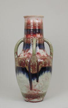 Vase with four green handles  Delaherche  1899