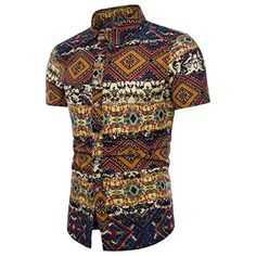 Men s Casual Shirts Short-Sleeve 2018 Summer Hawaiian Shirt Skinny Fit with  Various Pattern Man Big Sizes Clothes b517473464f