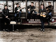 The newly formed Beatles in Hamburg Germany 1960.