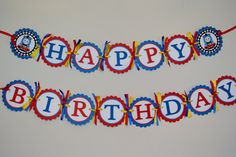 Thomas the tank Happy Birthday banner by KraftingwithPatty on Etsy, $25.00