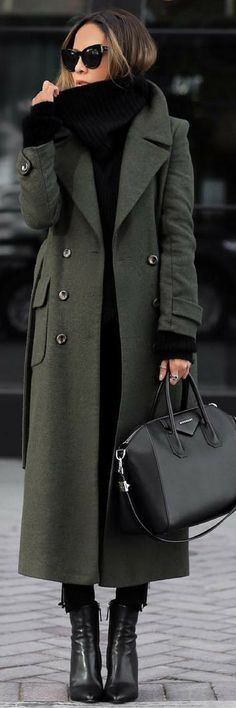 Dark green trench,