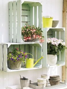Wood Crate Shabby Chic Wall Organizer. Love the shabby chic look of these wood crates in the garden!