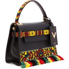 Valentino My Rockstud Small Jamaican Top-Handle Satchel Bag (£1,650) ❤ liked on Polyvore featuring bags, handbags, handle satchel, flap satchel handbag, valentino bag, strap purse and satchel purses