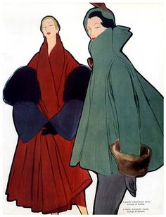 Christian Dior & Jacques Fath coats (1948) by Italian fashion illustrator René Gruau (1909-2004). via Fred & Ginger Vintage