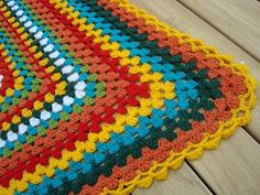 PaisleyJade: Granny Square Blanket - finished!! I love the colors!!!!!
