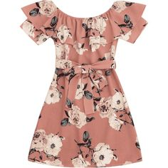 Ruffle Floral Off Shoulder Mini Dress ($30) ❤ liked on Polyvore featuring dresses, short dresses, floral dresses, red off the shoulder dress, off-shoulder dresses and floral mini dress
