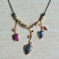 One of a kind sapphire and ruby necklace with handmade and hand textured 18k gold vermeil beads on adjustable oxidized sterling silver chain by Q Evon.