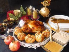 La cocina de Lola: Pollo relleno con guarnición de manzana en hojaldre y crema de castañas