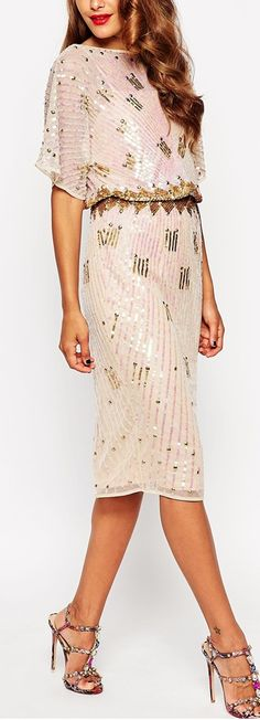 kimono sleeve sequined dress