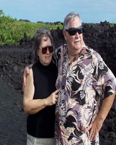 Sami and Bob on lava fields near our home