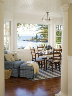 Beach house ;) Love the dining area in front of the big bay window!