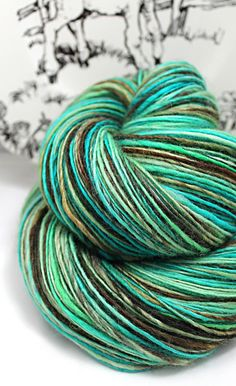 Handspun Yarn Gently Thick and Thin DK Single Superwash Blue Faced Leicester 'Sylvan Glade'