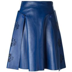 Blue leather laser cut floral skirt from Alexander McQueen featuring a concealed side zip fastening and press stud fastening side flaps.