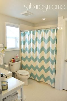 chevron shower curtain. love everything in this home