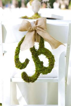 Moss Letters Wedding Initial With Burlap Ribbon & by VintageShore, $45.00