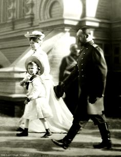 Tsarina Alexandra, Grand Duchess Olga and Tsar Nicholas II