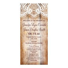 Rustic Country Barn Wood Vertical Wedding Programs Personalized Rack Card #wedding favors, #bridal shower favors, #party favors, #personalized favors, #decorations, #bridesmaids gifts, #bridal party gifts, #wedding supplies, #timelesstreasure