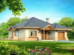Projekat moderne prizemne kuće s garažom – Verona Philippine Houses, House Design Pictures, Simple House Design, Bungalow House Design, Hip Roof, Home Fashion, Verona, My House, Beautiful Homes
