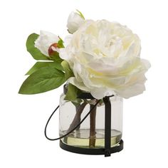 Shop for Blossom Collection 8.5-inch White Peony Cutting in Vase. Free Shipping on orders over $45 at Overstock.com - Your Online Home Decor Outlet Store! Get 5% in rewards with Club O!