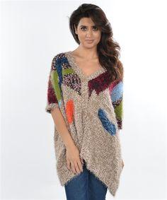 Short Sleeve Multi Color Sweater