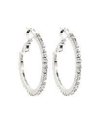 "Crystal Hoop Earring, Silver Tone, 1"", 3 available, each $14.00. To buy, see www.facebook.com/JewelrySistersLLC"