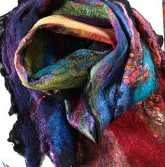 Hand felted Nuno scarf in merino and silk with by FiberArtemis Mixed Fiber, Felt, Rainbow, Hands, Wool, Etsy, Beautiful, Rain Bow, Felting