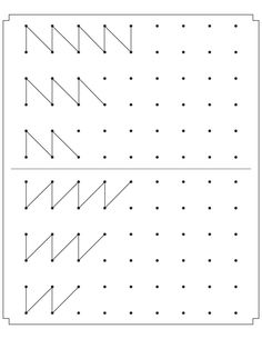Join the dots to complete the patterns Grade R Worksheets, Preschool Number Worksheets, Numbers Preschool, Kindergarten Writing, Dyslexia Activities, Preschool Learning Activities, Writing Activities, Activities For 5 Year Olds, Prewriting Skills