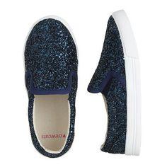 Girls Glitter Slip-On Sneakers