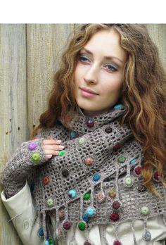 """""""Autumn drops"""" (crochet set - crochet cowl & mitts - crochet drops…"""