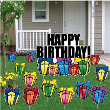 Presents Birthday Lawn Signs Happy Yard Greetings Small Cards