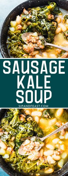 Spicy sausage potato and kale soup is our go-to easy soup for weeknights. Made in under 45 minutes, this complete meal combines spicy sausage, hearty potatoes, cannellini beans, and kale into one delicious bowl of soup! #souprecipes #italiansausage #potatosoup #kale #heartysoup Sausage Potato Kale Soup, Sausage Potatoes, Best Sausage, Spicy Sausage, Quick And Easy Soup, American Recipes, Chowder Recipes, Vegetarian Soup, Slow Cooker Soup