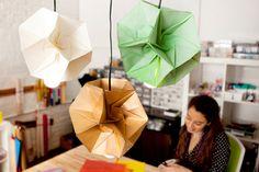 DIY Origami Lamp Shades via Brit + Co. I like that lamp! Check out other DIY lampshade pins at pinterest.com/ilikethatlamp/lampshades