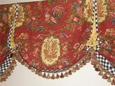 French Country VALANCE Waverly Fabric Saffron Red Gold Rooster - French country valances