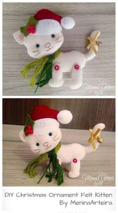 Cat Christmas Ornaments, Felt Christmas Decorations, Noel Christmas, Handmade Christmas, Christmas Felt Crafts, Vegan Christmas, Christmas Nativity, Xmas, Ornament Pattern