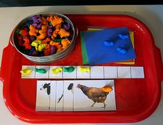 Animal counters with patterning strips and sorting cards from Joyfully Weary: Preschool Syllabus: Farms Preschool Centers, Kindergarten Themes, Preschool Education, Preschool Themes, Preschool Crafts, Preschool Farm, Activity Centers, Harvest Activities, Farm Activities