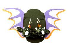 Handmade Lampwork Glass Bat Earrings.  STERLING SILVER Ear Wires.  Glass Bead Halloween Earrings.  Handmade By Me. by buttonsbyrobin3 on Etsy