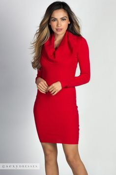 """Amina"" Red Long Sleeve Cowl Neck Midi Sweater Dress"