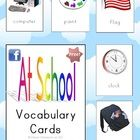 At School Vocabulary Cards - PDF file9 page resource, designed by Clever Classroom.Vocabulary building cards about school.Bold pictures, 4 pi...