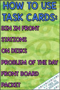 Ideas for Teaching with Math Task Cards Teaching Secondary, Secondary Math, Cooperative Learning Strategies, Math Classroom, Math Math, Classroom Resources, Middle School, High School, Math Challenge