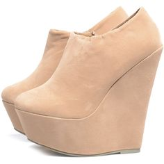 AX Paris Nude Suede Shoe Boot Wedge ($43) ❤ liked on Polyvore