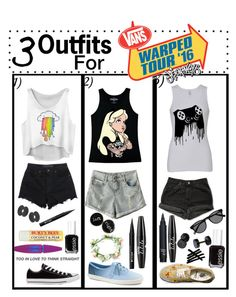 """3 outfits for Warped tour 2016"" by demigod-wizard-tribute-elf ❤ liked on Polyvore featuring T By Alexander Wang, Converse, Stila, Essie, Maybelline, Burt's Bees, Disney, Keds, NYX and Levi's"