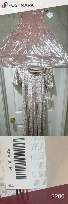 Lularoe Elegant Amelia M Velvet Gorgeous silvery pink crushed velvet Amelia. BNWT. Lots of flattering stretch. Solid dusty pearly pink color. Absolutely stunning. Not strictly a holiday dress. Would look amazing with mean jacket or stilettos. Christmas, NYE, wedding guest, Valentine's day. So many options! LuLaRoe Dresses Midi