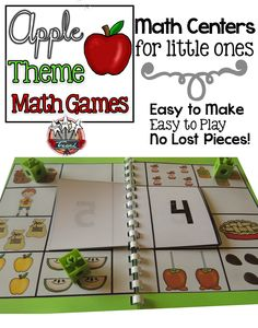 Kindergarten Math Centers.  Apple themed counting and cardinality math games.  Kindergarten play the easy way!