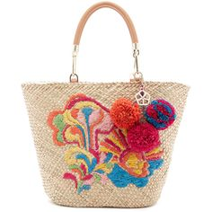 Barbados Tote (240 CAD) ❤ liked on Polyvore featuring bags, handbags, tote bags, white tote, colorful tote bags, embroidered purse, white tote handbags and multi colored handbags