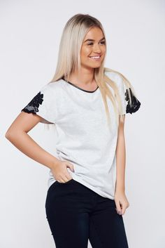 StarShinerS grey t-shirt casual cotton with lace details, women`s T-Shirt, short sleeves, easy cut, faux leather details, lace details, elastic cotton