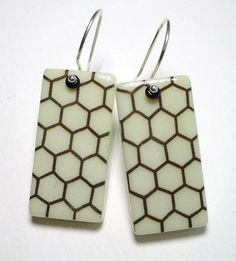 Hexagon Combs Domino Earrings ali herrmann jewelry by theotherali, $30.00