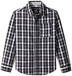 Calvin Klein Big Boys Yard Check Woven Shirt Dark Gray Large * Click image for more details.Note:It is affiliate link to Amazon.