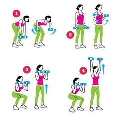 Four-Corner Farmer's Walk: Place 2 cones 10 yards apart. Do 1 to 3 sets of the sequence. Rest between sets. (1) Standing at cone, do 8 to 10 bent-over rows. (2) Walk to other cone and do 8 to 10 biceps curls. (3) Walk back to the 1st cone and do 8 to 10 squats. (4) Return to the 2nd cone and do 8 to 10 overhead presses.